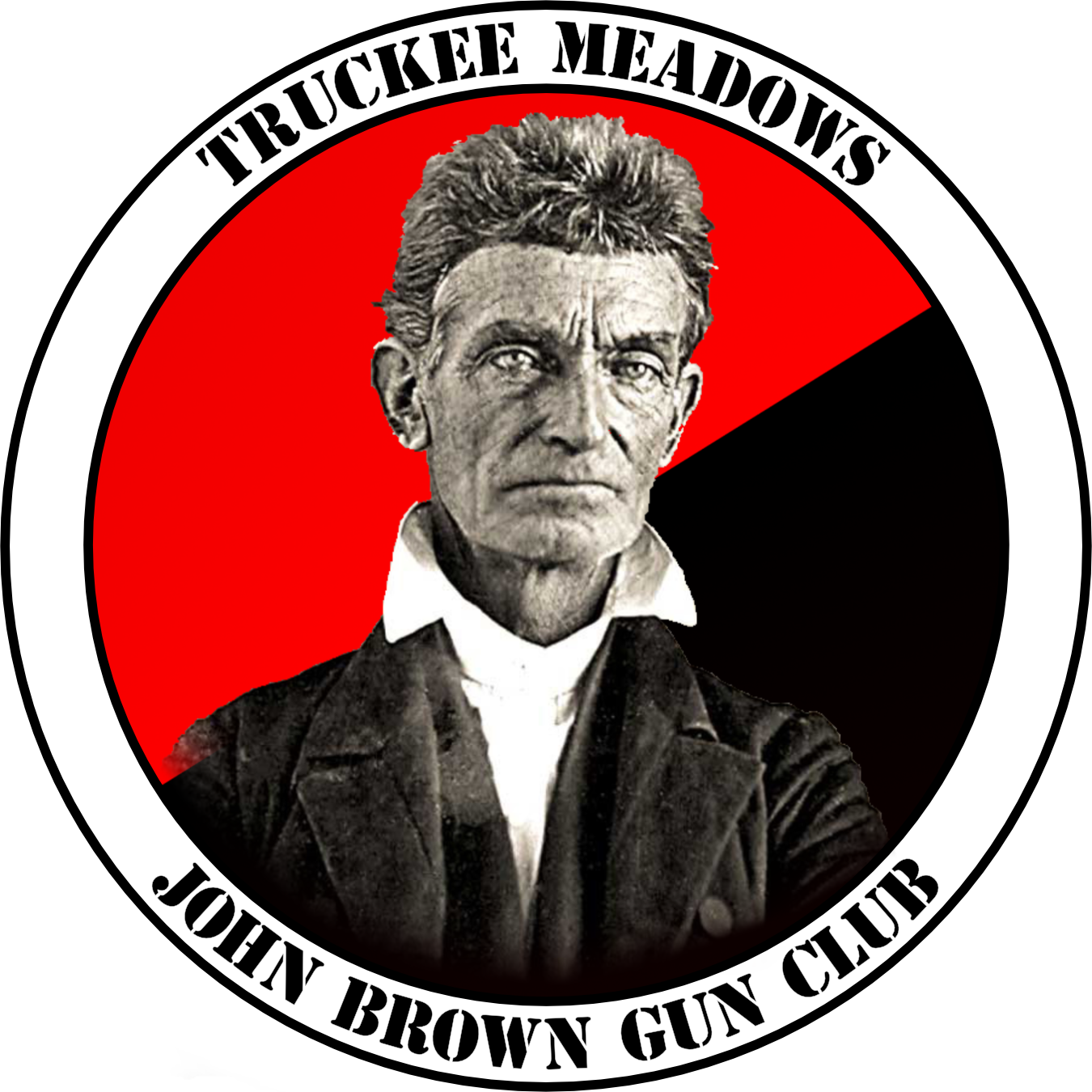 Logo depicting John Brown with a red and black anarchist background and the text 'Truckee Meadows John Brown Gun Club'